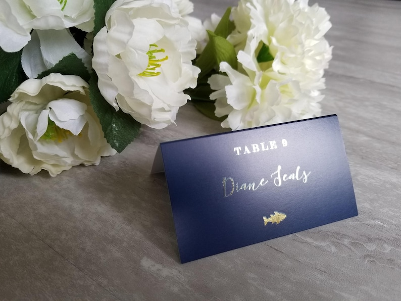 Gold foil on navy meal choice place cards navy gold wedding image 0