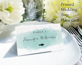 Aqua watercolor place cards with meal choice, escort card with food choices, mint name and meal choice cards, custom name card with food