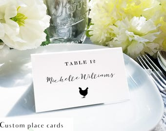 Custom calligraphy meal place card, place card mail merge, Avery place card template, Gartner Studio place card template, printable file