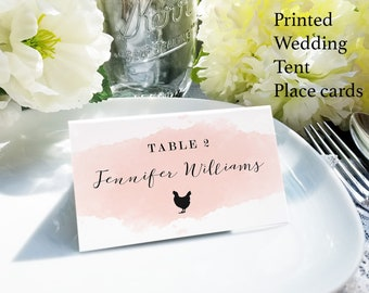 Watercolor place cards with meal choice, blush escort card with food choices, blue name and meal choice cards, custom name card with food