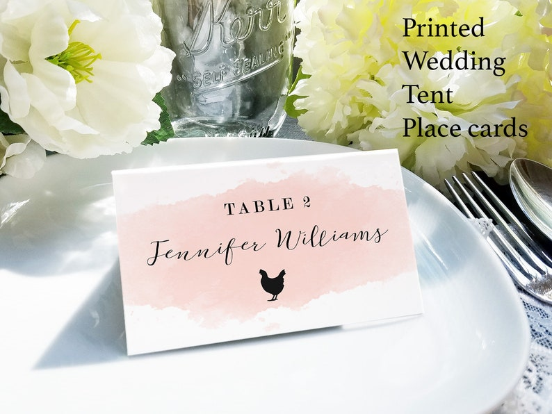 Watercolor place cards with meal choice blush escort card image 0