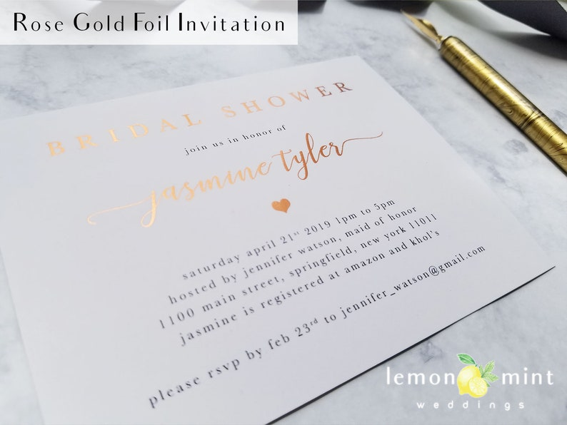 Rose gold foil bridal shower invitation Rose gold foil image 0