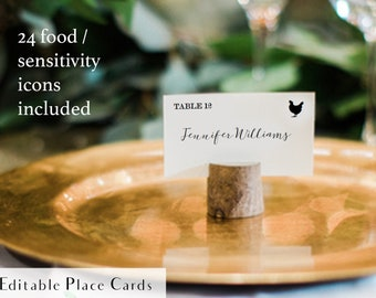 Printable meal choice place cards for holders, rustic escort card food choices, name and meal choice cards, reception name card with food