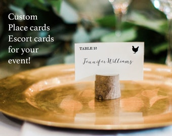 Wedding meal choice tent cards, escort card with food choices, custom name and meal choice cards, custom name card with food, meal cards