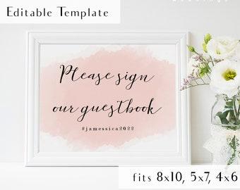 Editable blush wedding cards gifts sign, blush themed wedding décor, diy printable card sign, diy card gift sign, diy printable pdf template