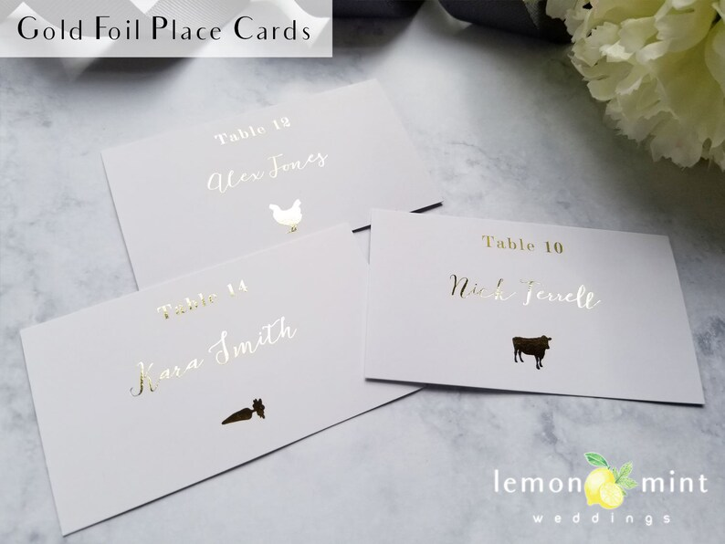 rose gold escort card food gold foil name card with food Gold foil calligraphy meal choice place cards gold name and meal choice cards