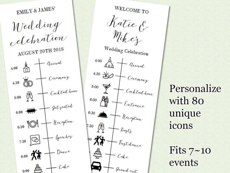 graphic about Printable Timeline Pdf titled Printable wedding day timeline with icons, Editable wedding ceremony timeline card, customizable wedding ceremony working day timeline, PDF marriage timeline template