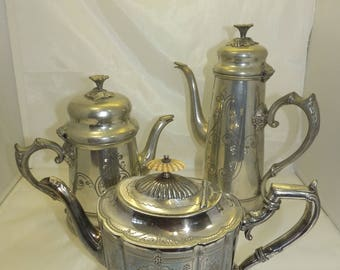 vintage silver plated tea and coffee pots,(3)