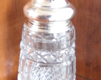 antique hallmarked solid silver capped heavy cut glass sifter , heihgt 15cm,cap 16.7g