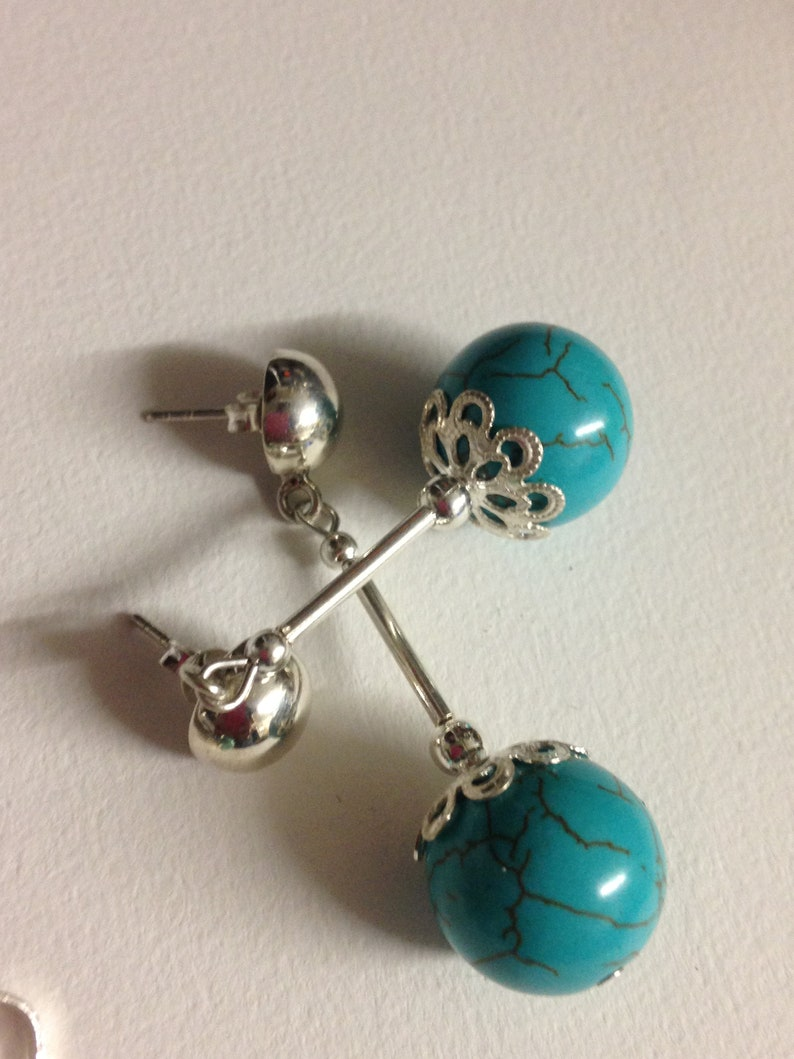 3 Set of a pair of hallmarked 925 silver and sphere shaped  turquoise studs earrings  with a matching pendant