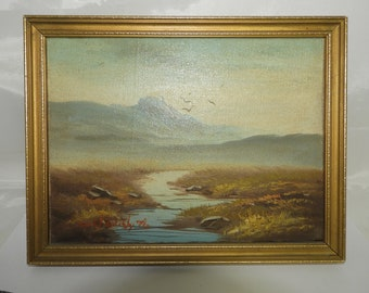 miniature oil painting on board of landscape ,signed,framed