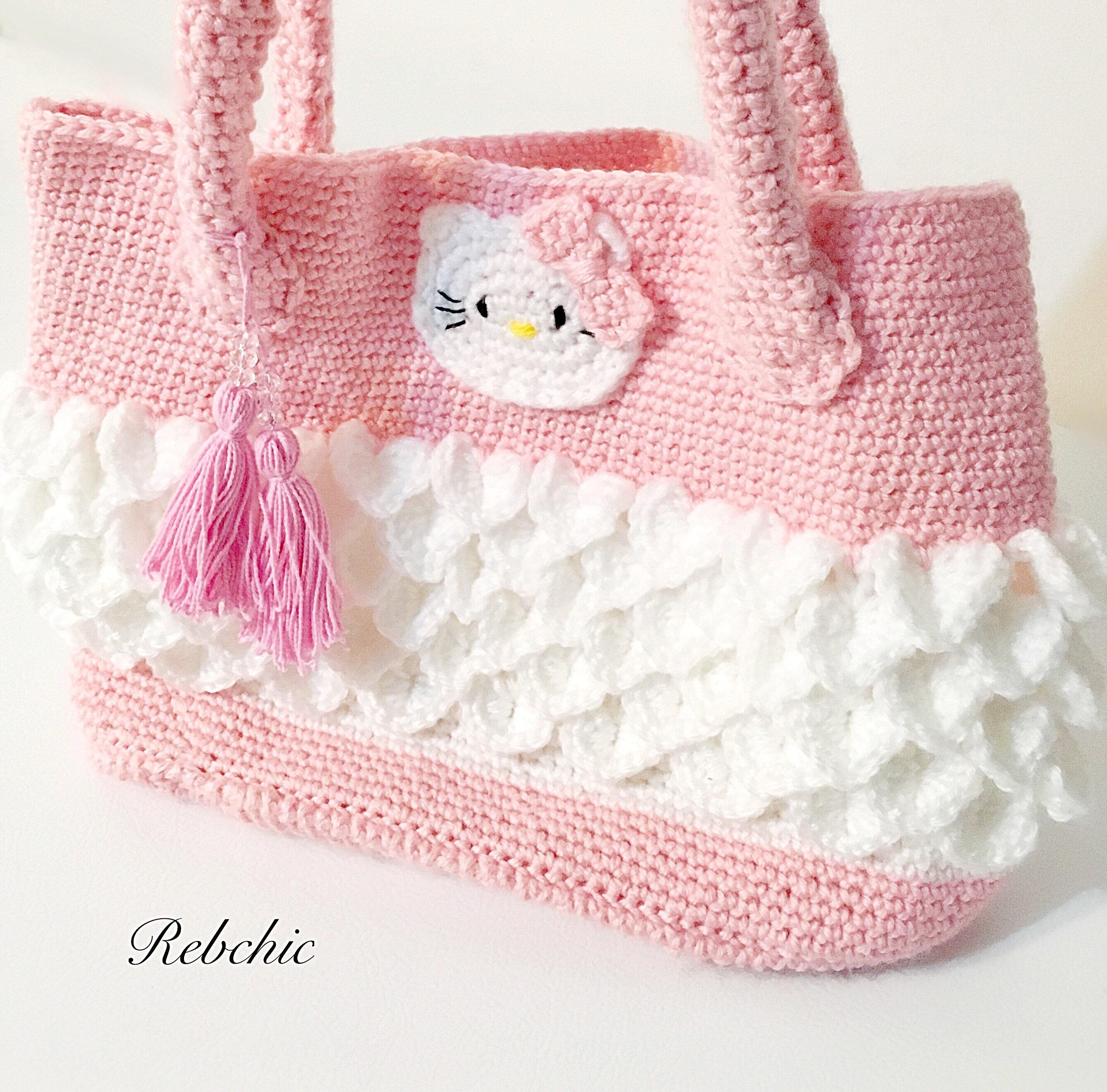 Crochet Bag Style Hello Kitty Purse Tote Bag Etsy