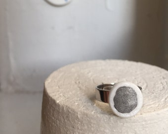 Porcelain Ring #3 - Handmade jewelry - refined - made in France