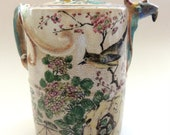 Antique RARE Chinese Japanese POTTERY-Ceramic tea pot w 3 Qilongs DRAGONS