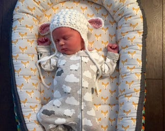 Lamb Hat, Baby Hat, Shower Gift, Baby Photo Prop, Lamb Hat