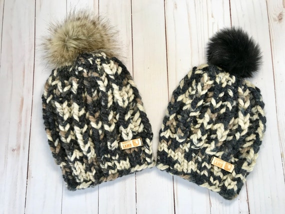 e411aae6456 Fisherman Rib Chunky Knit Pompom Hat DESERT Mommy   Me Hats
