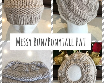 Messy Bun Hat, Ponytail Hat, Ladies Hat, Ladies Beanie,
