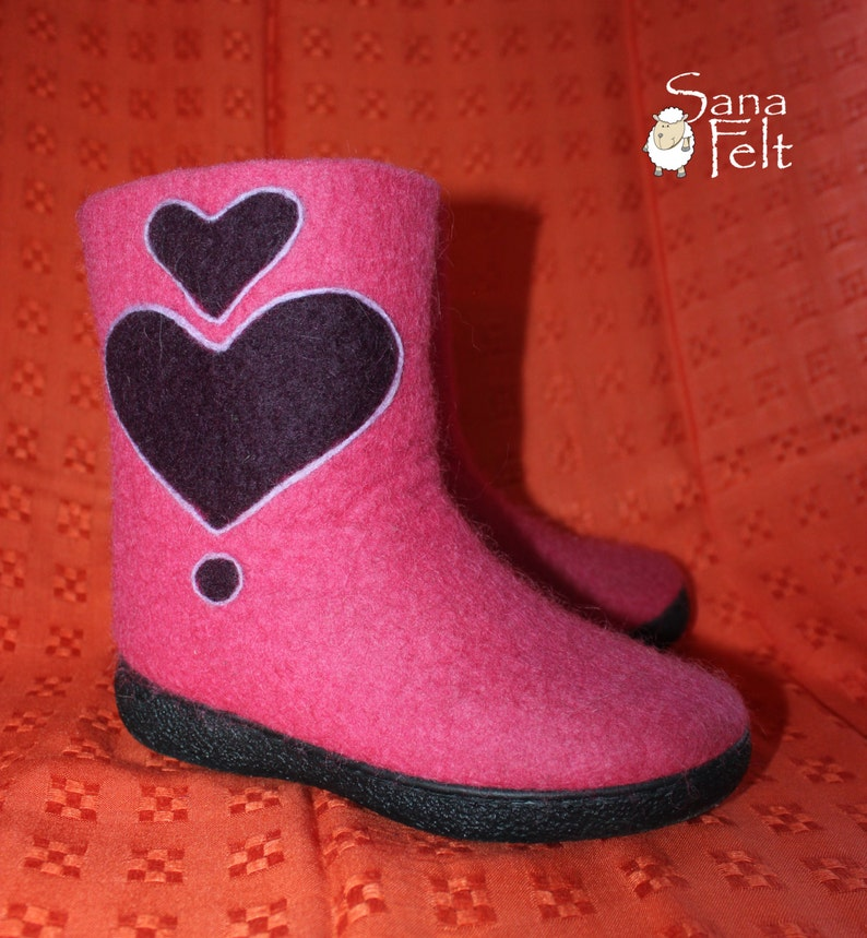 23a55893bf2eb Girls winter boots, felted wool, pink boots, girl shoes, hand felting,  felted wool, eco friendly, lady boots, pink felted shoes, heart boots