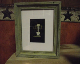 old fashioned pull chain toilet embroidered picture in frame