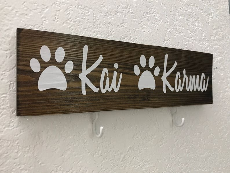 Wall Decor Dog Leash Holder 12 x 3.5 Collage Sign Pet Name Leash Holder Dog Name Sign Dog Sign