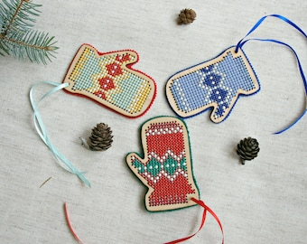 Wooden ornaments Christmas mittens cross stitch set three Xmas tree Norwegian mittens rustic country Christmas Eco decorations unique gift