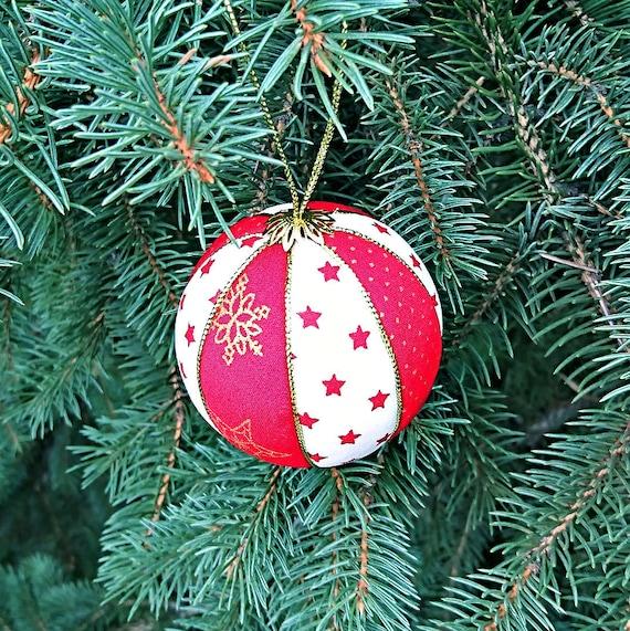 Christmas Tree Toys Handmade.Red White Christmas Tree Decor Handmade Xmas Ball Decoration Fabric Tree Toys Winter Holiday Gift For Christmas Balls Vintage Inspired