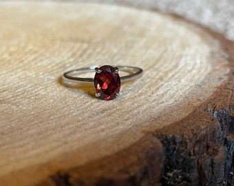 pristine garnet / sterling silver solitaire ring / strength and passion ring / january season (8).