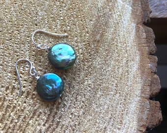 stunning & funky / natural abalone pearl drop earrings in sterling silver or gold fill.