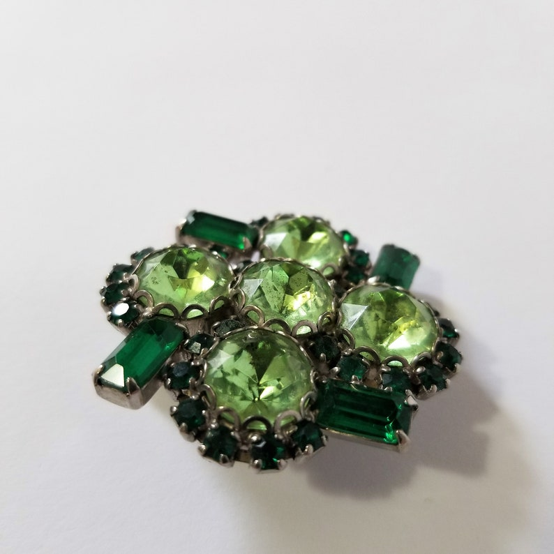 Details about  /MID CENTURY MODERN HAND MADE STERLING SILVER 14K GOLD EMERALD HEART BROOCH PIN