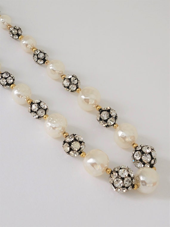 Faux Pearl Crystal Rhinestone Ball Necklace and Cl