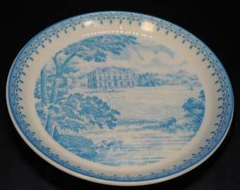 MN by Wedgwood Winona State State Teachers College Series Pink Transferware, Somsen Hall Vintage Dinner Plate Winona