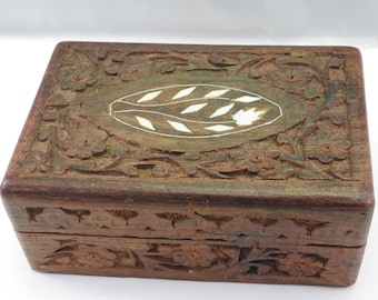 Carved wooden box etsy