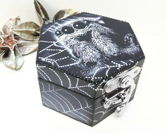 Black spider jewellery box, spider decoupage boxes, gothic gifts, gifts for brother, spider lover box, spider lover gifts, spider gifts, st3