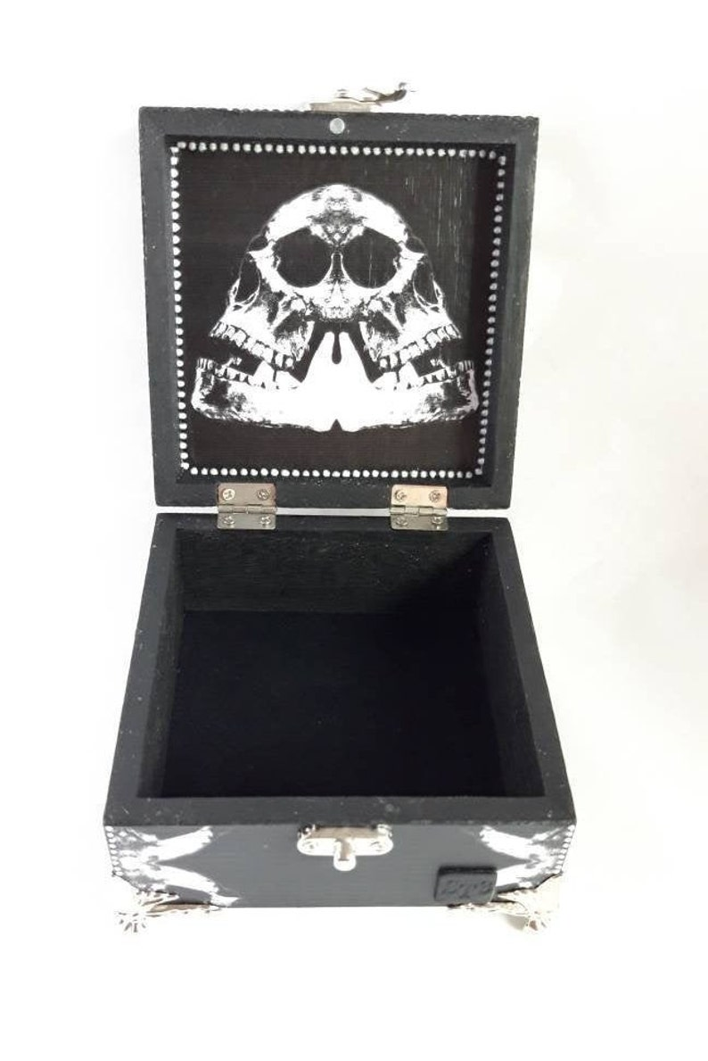 gifts for wife Black Skull box jewellery box memory box wood keepsake boxes gifts for husband silver skull jewelry boxes goth gifts