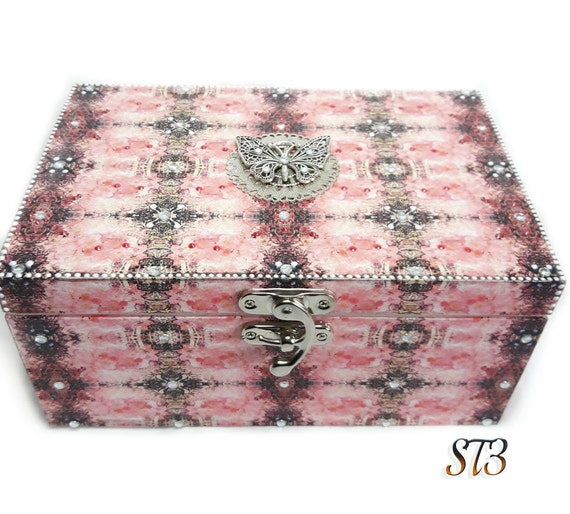 decoupage box pink sparkly box girls jewelry box pink silver box painted jewelry box womens butterfly box Pink butterfly jewellery box