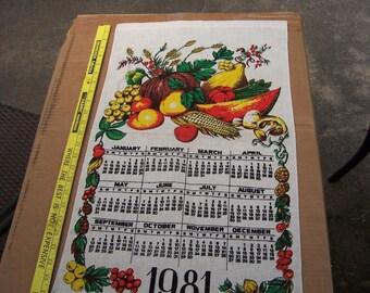 Vintage Kitchen Calendar 1981 Fruits and Vegetables