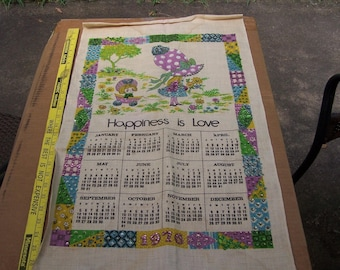 Vintage Kitchen Calendar from 1976 Happiness is Love Sisters