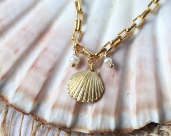 24K gold gold gold shell and fine chain necklace, beaded neckline, chic boho grigri, mother's party gift