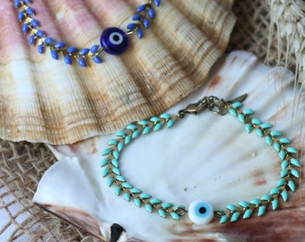3rd Greek eye grigri bracelet and enamelled coil chain, electric blue and turquoise,chic and boho, Mother's Day gift