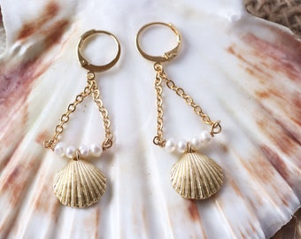 Shell earrings and 24K gold gold pearls, pendant buckles, chic boho grigri, mother's gift