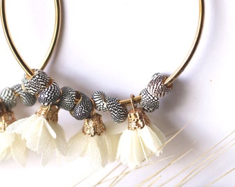 Creole earrings shell and flowers in off-white fabric gold fine 24K gold, grigri chic boho, gift party of mothers