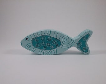 Fish w/spirals/Spa Blue/wood shelf sitter