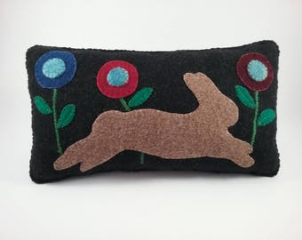 Prim Rabbit pillow/wool fabric/ hand stitched