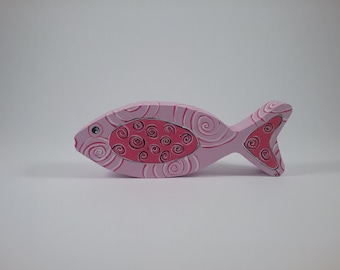 Fish w/spirals/Light Orchid/wood shelf sitter