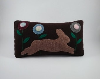 Prim Rabbit pillow/wool fabric/hand stitched