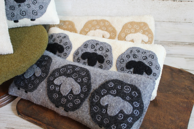 Sheep bowl filler light gray pillow with dark gray sheep handstitched upcycled wool fabric