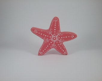 Starfish/bright salmon/wood shelf sitter