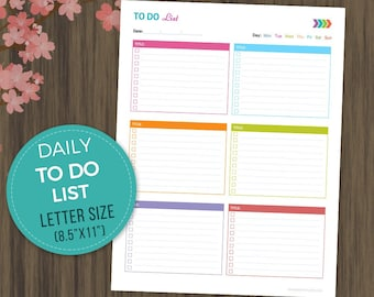 to do list printable todo planner to do list notebook daily checklist daily todo daily planner daily schedule letter size 85x11