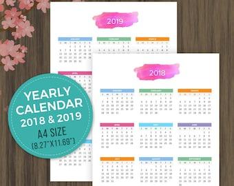 A5 Printable Calendar 2019 2020 Desktop Calendar Wall Etsy