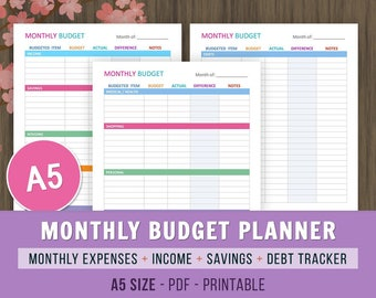 personal size monthly expense tracker inserts finance etsy